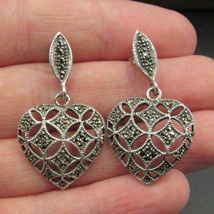 Sterling Silver Large Marcasite Heart Earrings